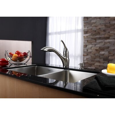 "Kraus 33"" Undermount 70/30 Double Bowl Kitchen Sink with 11"" Faucet and Soap Dispenser"