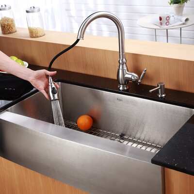 "Kraus Farmhouse 36"" Single Bowl Kitchen Sink with Faucet and Soap Dispenser"