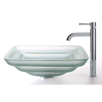 Kraus Square Frosted Oceania Glass Sink and Ramus Faucet