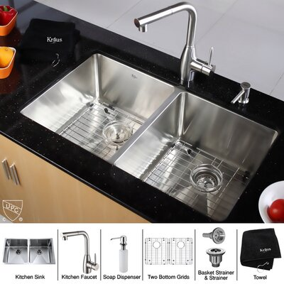 Kraus 33&quot; Undermount 50/50 Double Bowl Kitchen Sink with 13.4&quot; Faucet and Soap Dispenser