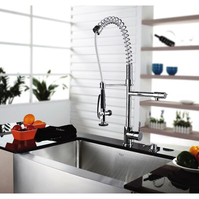 Kraus Three Handle Single Hole Bar Faucet with Soap Dispenser and Pull Out Sprayer