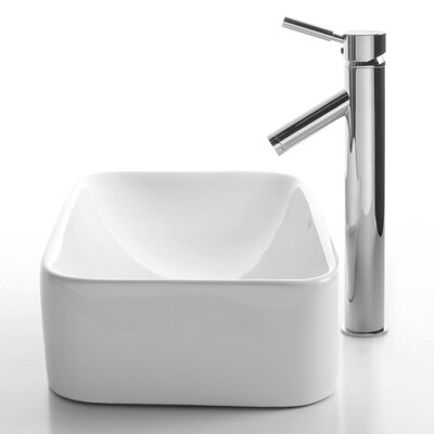 Kraus Ceramic Rectangular Bathroom Sink with Sheven Faucet