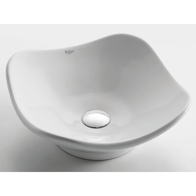 Kraus White Tulip Ceramic Sink with Pop Up Drain Chrome