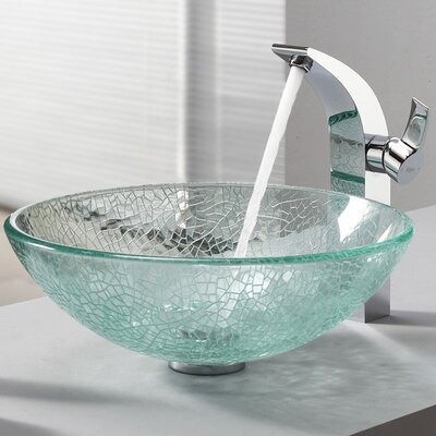 Kraus Broken Glass Vessel Sink and Single Hole Faucet with Single Handle