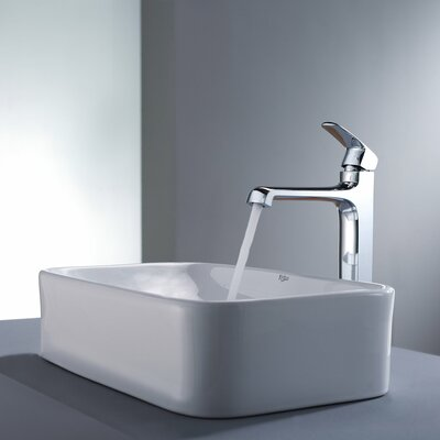Kraus Decorum Rectangular Ceramic Bathroom Sink and Faucet
