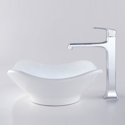 Kraus Decorum Tulip Ceramic Bathroom Sink and Faucet