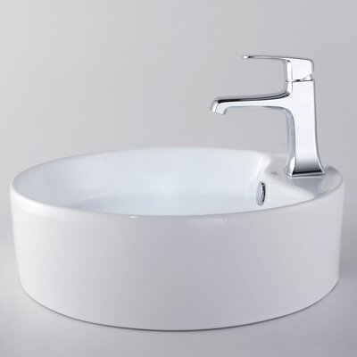 Kraus Decorum Round Ceramic Bathroom Sink and Basin Faucet