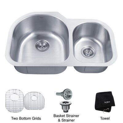 "Kraus 31.5"" x 20"" Undermount 60/40 Double Bowl Kitchen Sink"