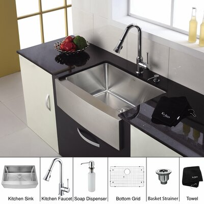 Kraus 30 inch Single Bowl Stainless Steel Kitchen Sink with Chrome Kitchen Faucet and Soap Dispenser