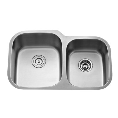 "Kraus 32"" x 20.75"" Double Bowl Undermount Kitchen Sink with Faucet and Soap Dispenser"