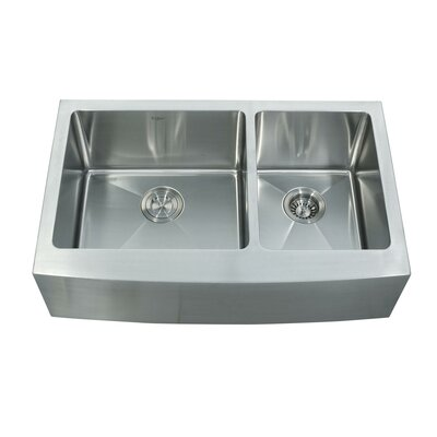 "Kraus 32.9"" x 20.75"" Farmhouse Double Bowl Kitchen Sink with Faucet and Soap Dispenser"