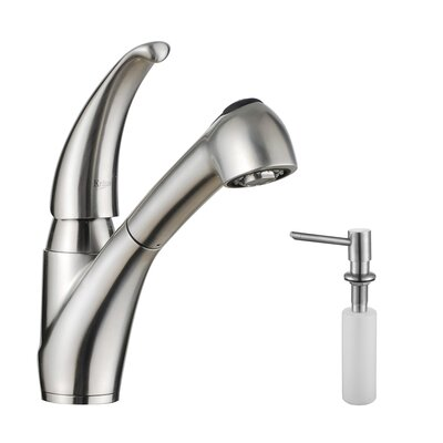 One Handle Single Hole Kitchen Faucet with Lever Handle and Soap Dispenser