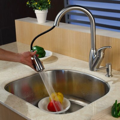 "Kraus 23.25"" x 20.9"" Undermount Single Bowl Kitchen Sink with Faucet and Soap Dispenser"