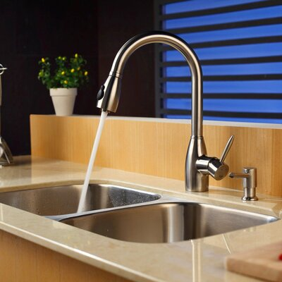 "Kraus 32.25"" x 18.5"" Undermount Double Bowl Kitchen Sink with Faucet and Soap Dispenser"