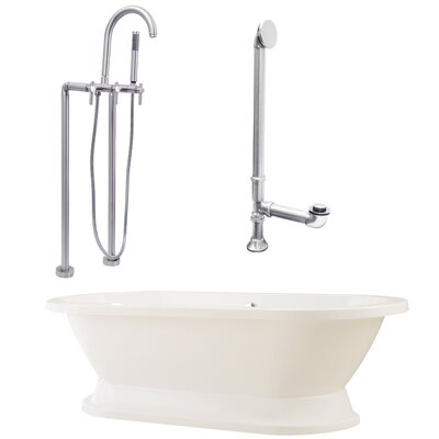 Giagni Capri 67&quot; Tub with Floor Mount Faucet and Lever Handles