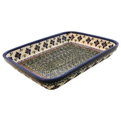 "Euroquest Imports Polish Pottery 12""  Rectangular Baking Pan - Pattern DU60"