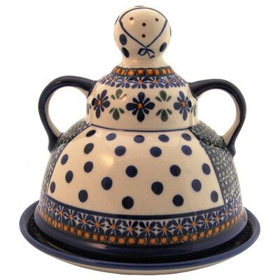 Euroquest Imports Polish Pottery Cheese Lady Covered Cheese Dish