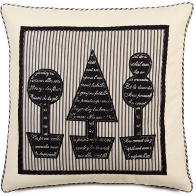 Evelyn Polyester Fullerton Ink Topiary Block Printed Decorative Pillow