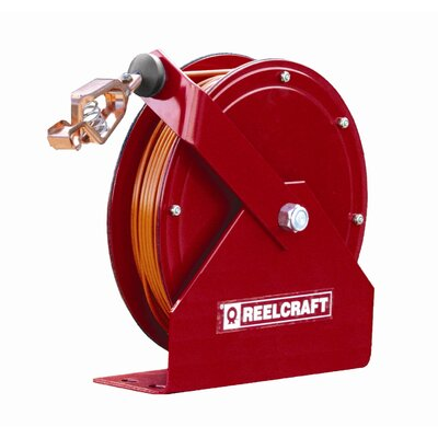Reelcraft 100' Grounding Reel with Hi-vis Orange Nylon Covered Cable