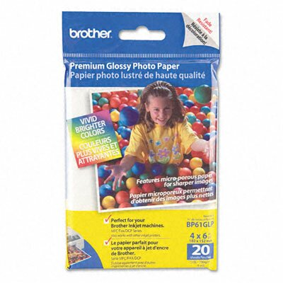 Brother Glossy Premium Innobella Photo Paper, 4 x 6, 20 Sheets per Pack