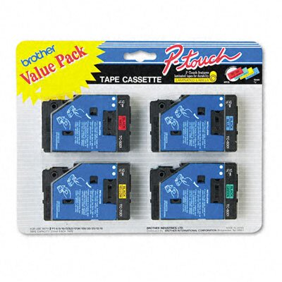 Brother P-Touch Tc Tape Cartridges, 4/Pack