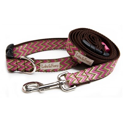 Lola and Foxy Fuchsia Chevron Dog Collar