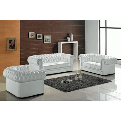 Hokku Designs Madeline 3 Piece Leather Sofa Set