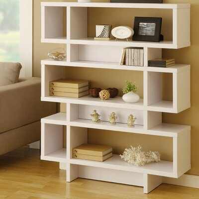 Hokku Designs Celio Three-Tier Bookcase / Display Cabinet in Matte White