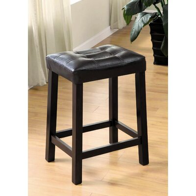 Hokku Designs Versa Leatherette Stool in Black (Set of 2)