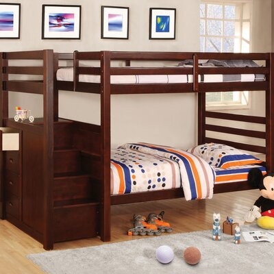 Hokku Designs Cornell Twin over Twin Bunk Bed with Stairs and Storage