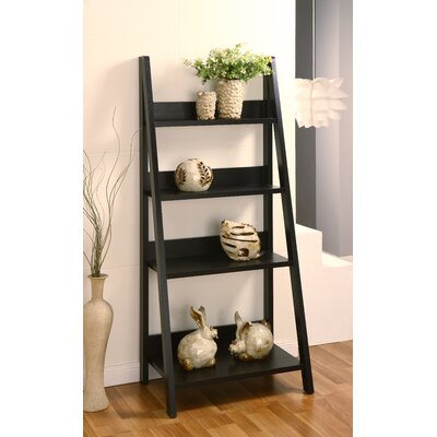 ... Tahoe Four-Shelves Ladder Style Bookcase / Display Cabinet in Black