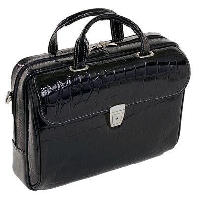 Ignoto Ladies' Large Leather Laptop Brief in Black