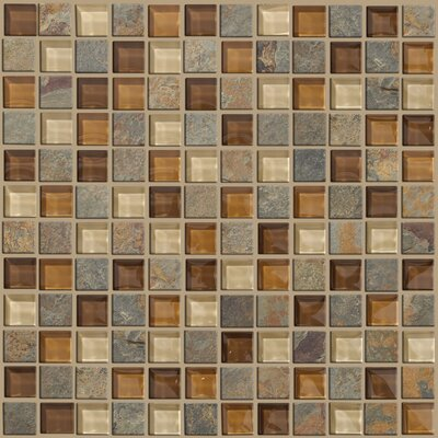 "Shaw Floors Mixed Up 12"" x 12"" Mosaic Slate Accent Tile in Crested Butter"