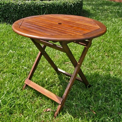International Caravan Acacia Patio Round Folding Dining Table