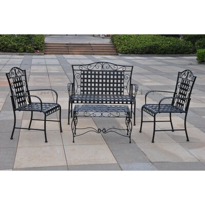 International Caravan Iron Patio 4 Piece Bench Seating Group