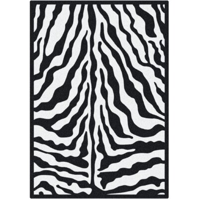 Milliken Black & White Zebra Glam Black Ink Rug