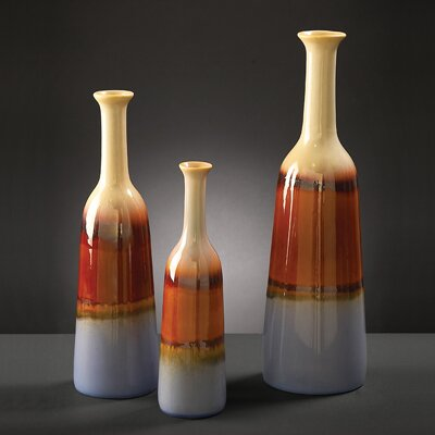 Ceramic Bottles in Multicolored Glaze (Set of 3)