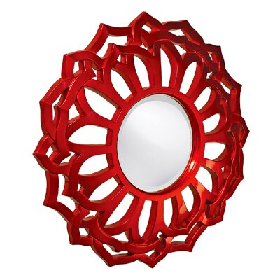 Howard Elliott Casey Round Mirror in Metallic Red