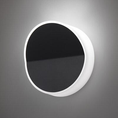 Vibia Beta Round Wall Sconce in Soft Black Lacquer