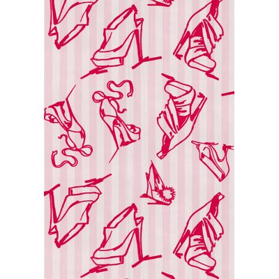 Graham & Brown Barbara Hulanicki Flock Shoes Wallpaper in Pink