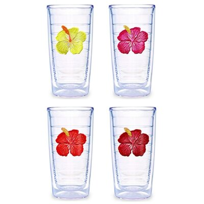 Hibiscus Assorted 16 oz. Tumbler (Set of 4)