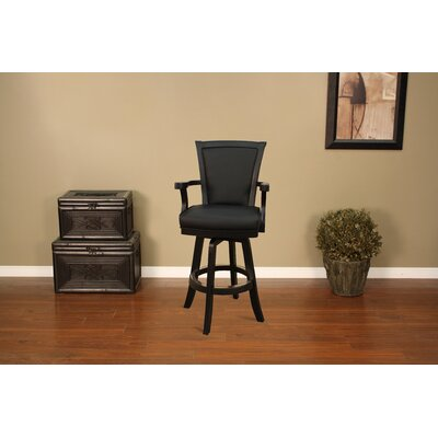 American Heritage Auburn Stool in Antique Black with Black Leather