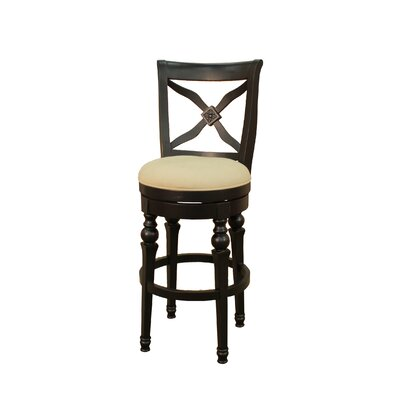 American Heritage Livingston Stool in Antique Black with Stone Fabric