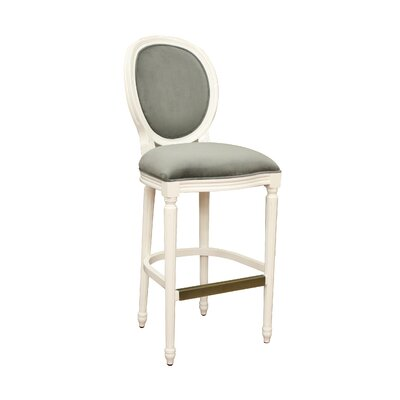American Heritage Dante Stool in White with Pet Microfiber