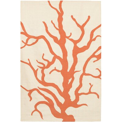 Thomas Paul Flat-weave Dhurrie Cream/Orange Coral Rug