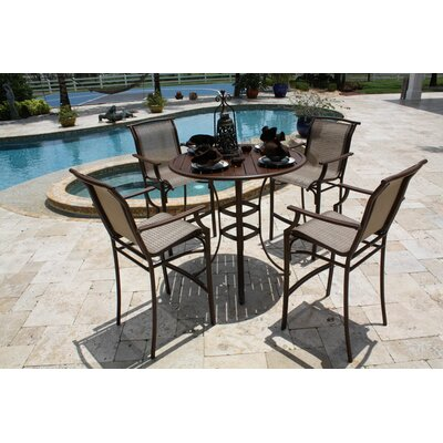 Hospitality Rattan Chub Cay Patio 5 Piece Bar Height Dining Set