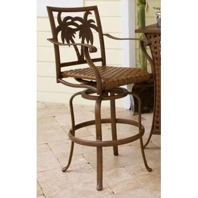 "Hospitality Rattan Coco Palm Patio 30"" Swivel Barstool"