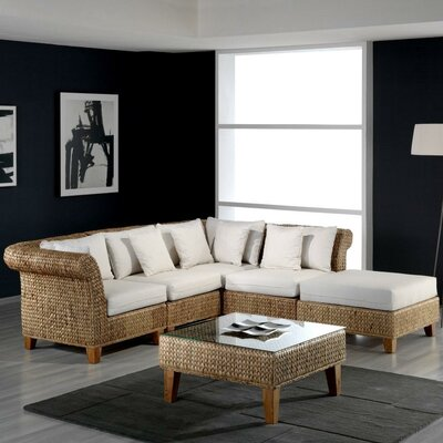 Hospitality Rattan Seagrass 5 Piece Deep Seating Group