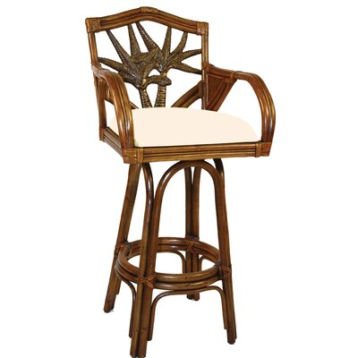 "Hospitality Rattan Cancun Palm Indoor Swivel Rattan 30"" Bar Stool in Antique Finish"