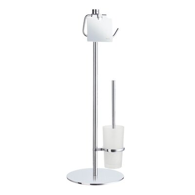 Smedbo Outline Toilet Roll Holder with Lid and Toilet Brush in Polished Chrome